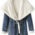 ROMWE | Hooded Selt-tied Elastic Buttoned Blue Coat, The Latest Street Fashion