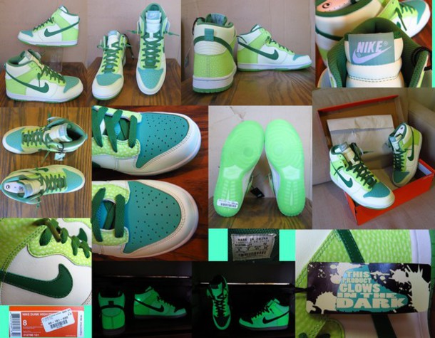 a0bbd7f7749 shoes nike sneakers nike dunk high tops dunks glow in the dark for sale  green shoes