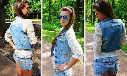 3d flower denim jacket 3d flower lace sleeve denim jacket vest