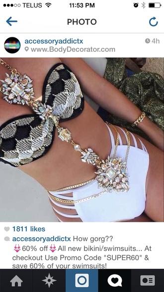 jewels body chain swimwear girly black white and gold luxury high waisted bikini bikini