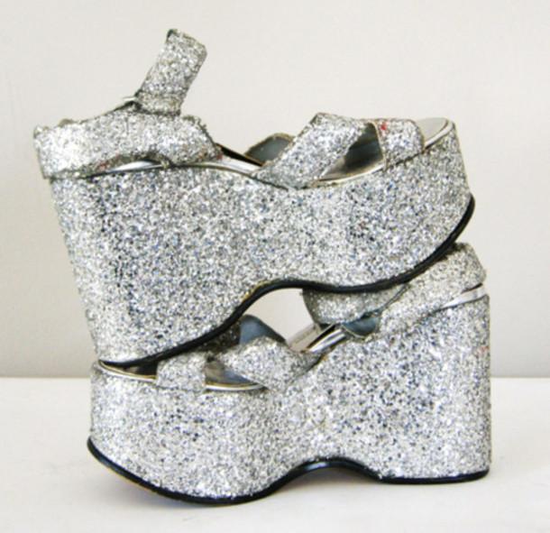 silver platforms, silver glitter, 90s