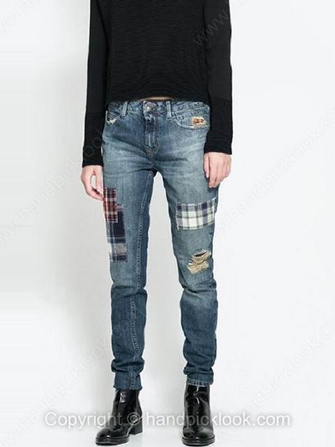 Blue Pockets Ripped Button Fly Pant - HandpickLook.com