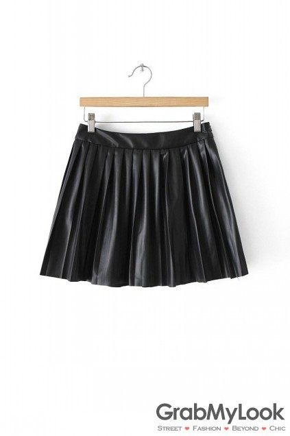 Black Leather Skater Pleated Sexy Mini Skirt Black Leather Skater ...