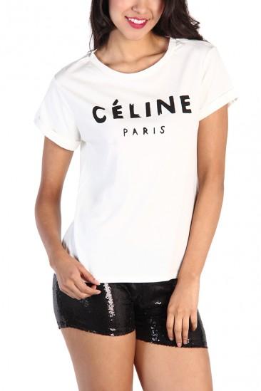 LoveMelrose.com From Harry & Molly | Celine Print Top - White