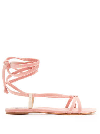 sandals velvet light pink light pink shoes