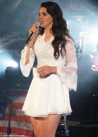 lana del rey white dress 70s style vintage celebrities long sleeve dress lace dress