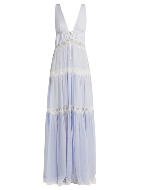 JONATHAN SIMKHAI Lace-embellished silk maxi dress in blue