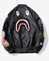jacket,black,bape,bomber jacket,black bomber jacket