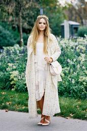 blogger,white dress,ruffle,long coat,coat,dress,bag,printed long coat,kristina bazan,kayture,white long coat,printed oversized coat