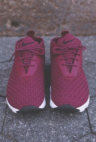 shoes nike nike roshe run roshe runs burgundy red sneakers