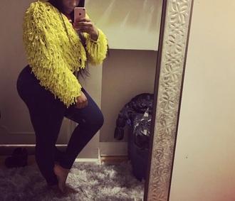 coat yellow yellow coat style fashion jacket fur fur coat