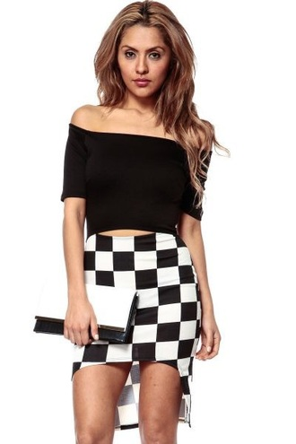 dress cicihot black and white check it out checkered