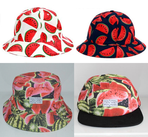 Bucket Hat Watermelon Pineapple Banana Orange Vintage Fruit Print ... d05dc41fc3d