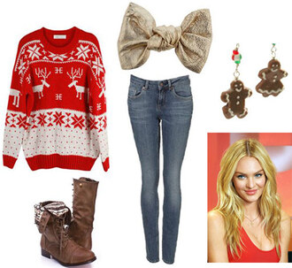 christmas christmas sweater earrings bows boots jewels gingerbread man cute holiday season jeans