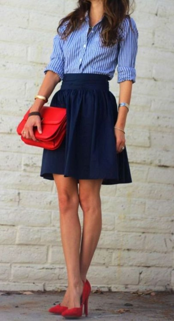 skirt office outfits navy stripes cute navy skirt shirt