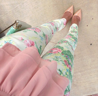 pants floral flowers beige baby pink shoes