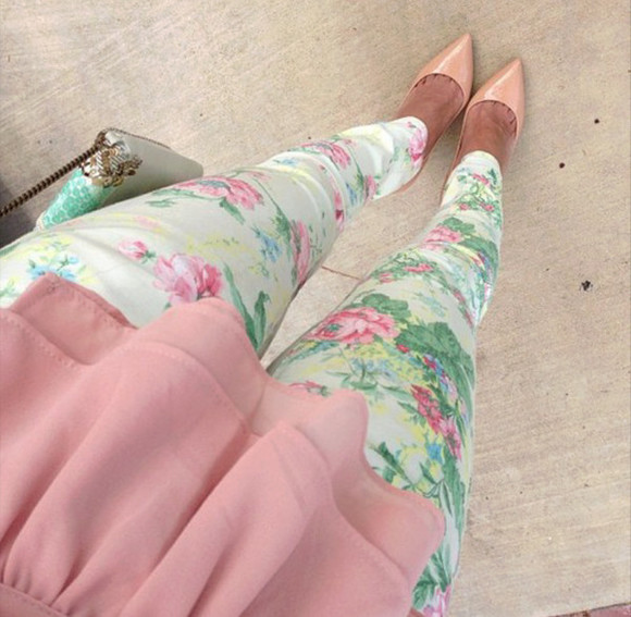 floral flowers shoes pants beige baby pink