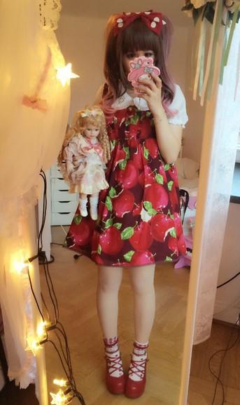 chiffon apple print kawaii lolita red dress sweet