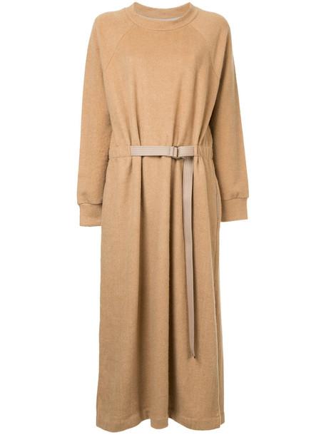 Seya. dress belted dress women cotton wool brown