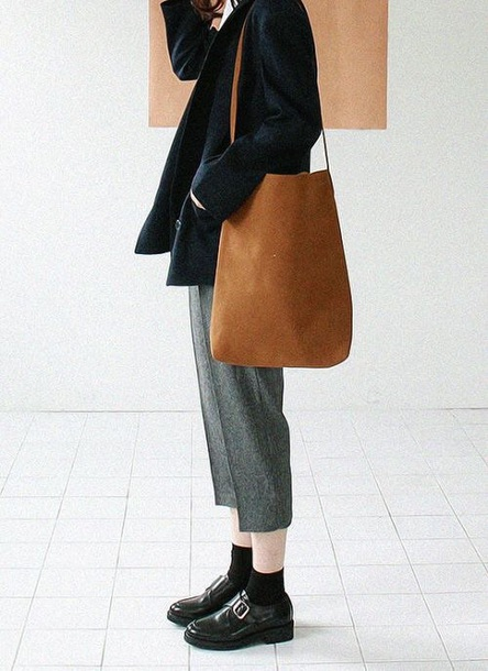 bag tan suede tote bag