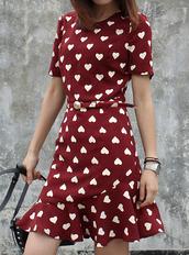 dress,polka dots,heart,irregular hem,flouncing,fishtail,wine,summer