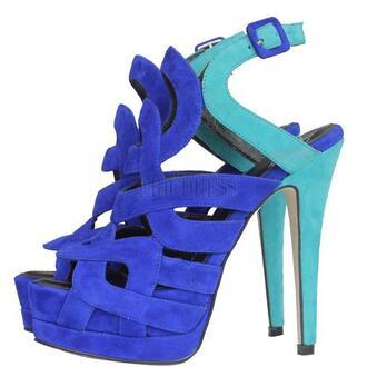 shoes pumps turquoise blue multi colored