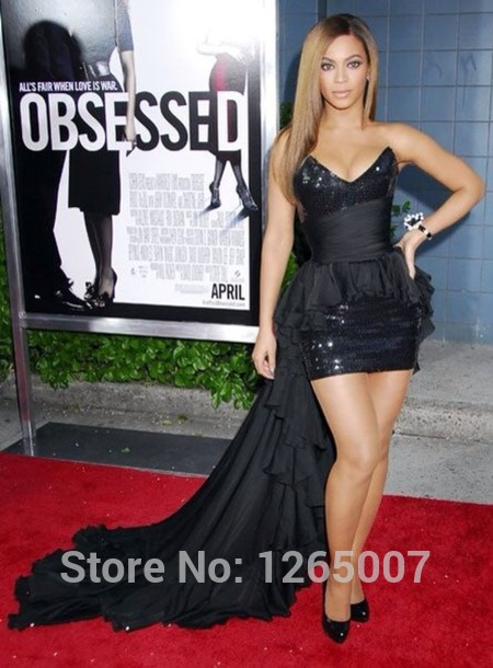 Aliexpress.com : Buy Beyonce V Neck Shiny Black Sequins Ruffles Waist Front Short And Long Back Fashion Celebrity Dress New Fashion from Reliable dresses in fashion suppliers on SFBridal