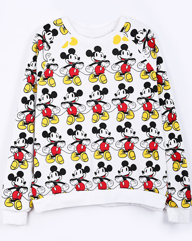 White raglan sleeve overlay mickey mouse print sweatshirt