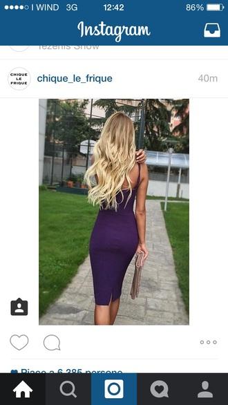 dress midi long slit purple violet clutch pochette bag purse sleeve sleeveless