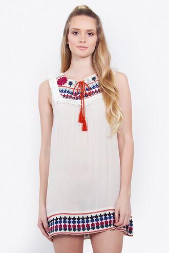dress tassel blue embroidered red white bikiniluxe