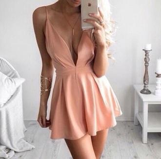 dress peach tumblr cute rose gold cute dress
