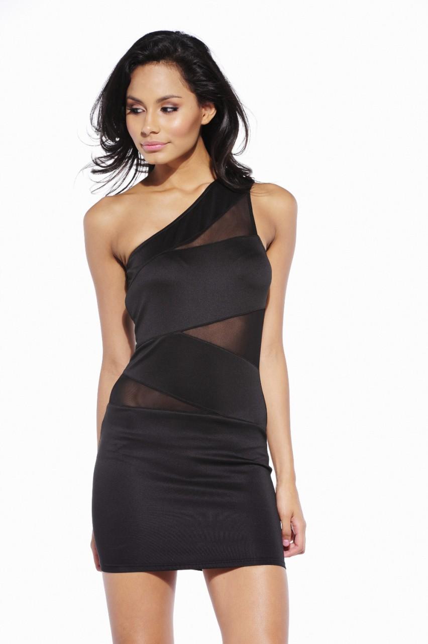 Black Little Black Dress Black One Shoulder Bandage