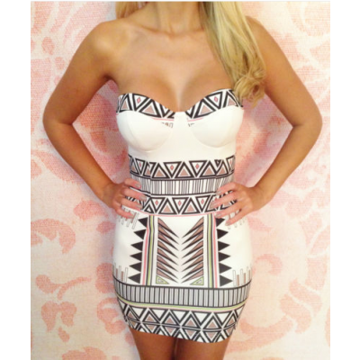 Buy Fashion Clothing -  White Geometric Tribal Print Mini Bodycon Dress - Dresses