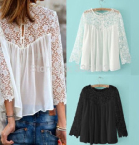 blouse white blouse lace top