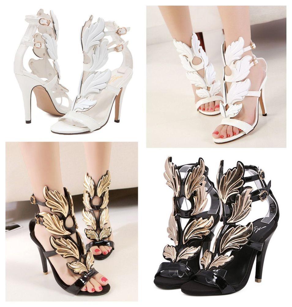 c03379ca8b0c Womens Roman Gladiator Angel Wing High Heel Strappy Summer Open Toe Sandals  Shoe