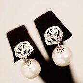 jewels,flower faux pearl drop stud earring