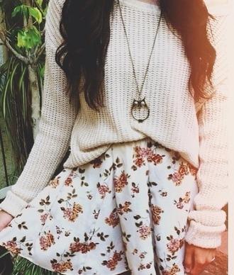 skirt floral skirt floral dress white dress indie