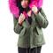 Raccoon fur collar parka jacket (fur lined ) fushia – luxy accessories