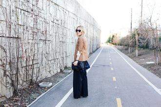 damsel in dior blogger camel blazer