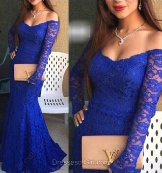 dress lace elegant fashion style royal blue classy gown formal long sleeves dressofgirl
