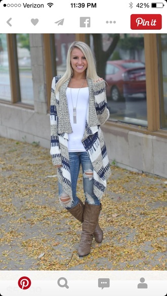 cardigan navy brand western blue white cascading jacket both of them knitted cardigan blue and white long cardigan