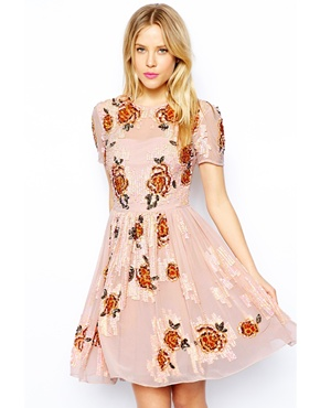 ASOS | ASOS  Embellished Flowers Dress at ASOS