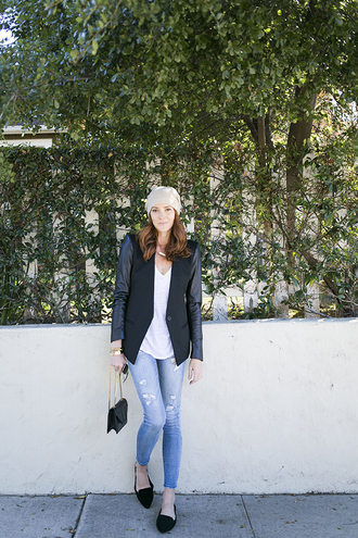 could i have that blogger jacket jeans loafers hat t-shirt bag jewels top smoking slippers black loafers black coat beanie white top ripped jeans blue jeans