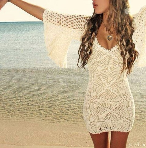 long hair waves jewels beach dress lace short short dress cover up beach cover up bikini post tumblr post pose jewellery beachy waves cream