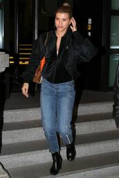 jacket,jeans,sofia richie,streetwear,streetstyle,model off-duty,fashion week 2017