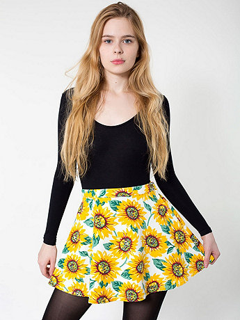 Sunflower Print Stretch Bull Denim Circle Skirt | American Apparel