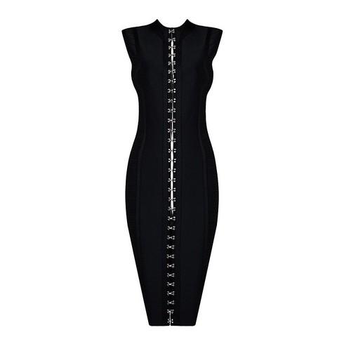 Maxi Zipper Bandage Dress Black