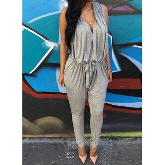 jumpsuit grey fashion rose wholesale sleeveless streetwear