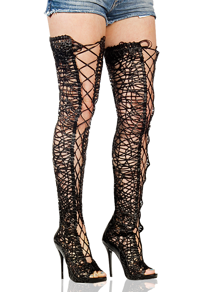 Lace Up Thigh High Heel in Black