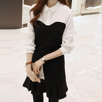 dress cute fashion korean fashion korean style korean dress minimalist style and minimalism pretty beautiful beautiful dresses ulzzang black dress black and white nastygal black and white dress